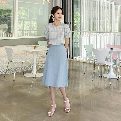 Cherrykoko(韓国ファッション)(2色・2サイズ)ハーツリネンフレアスカート『クーポン適用可能』♥CHERRYKOKO公式♥ハイクォリティー 韓国ファッション✯送料無料✯C902MASK1