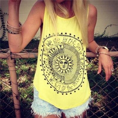 新しい夏のスタイルの女性のファッションノースリーブカジュアルタンクトップレディースO  - ネック私たちは太陽プリントで生きる