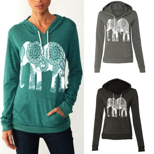 秋のファッション女性のカジュアルフード付きのパーカーの象のプリントティーシャツ