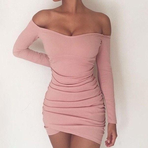 3色ファッション女性ショルダーセクシータイトショートドレスロングスリーブパーティーミニセクシードレス