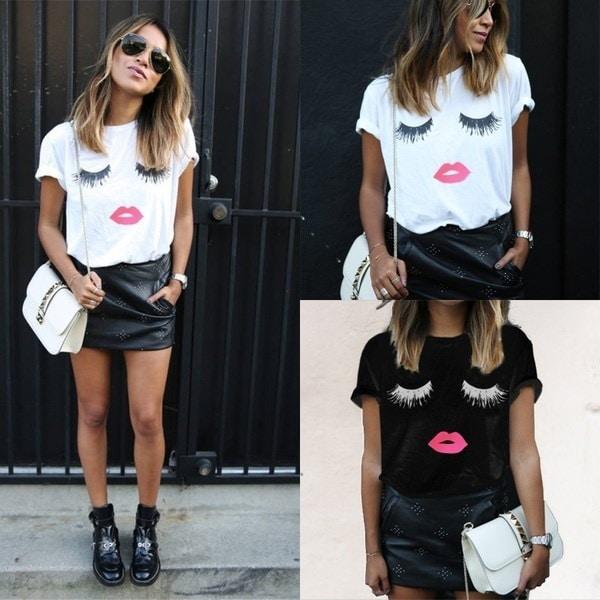ファッションレディースTシャツ半袖まつげリップルーズトップスブラウスシャツfemmes top Camiseta de las
