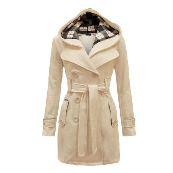 冬の女性のファッションの格子縞のパーカPeacoat暖かいフリースフード付きジャケットダブルブレストトレンチコート
