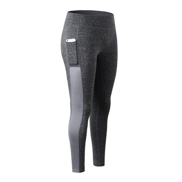 ポケットステッチメッシュの女性通気性スポーツパンツ速乾性屋外レギンスロングパンツ
