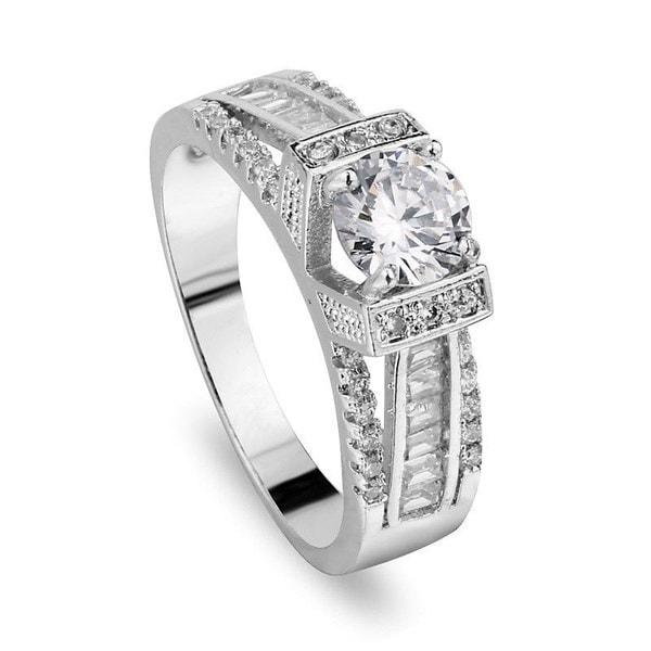 ホット7-10#シックな925スターリングシルバーホワイトトパーズの宝石結婚婚約指輪