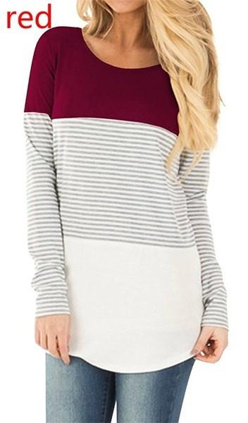 女性の長袖カラーブロックパッチワークチュニックラウンドネックTシャツトップ