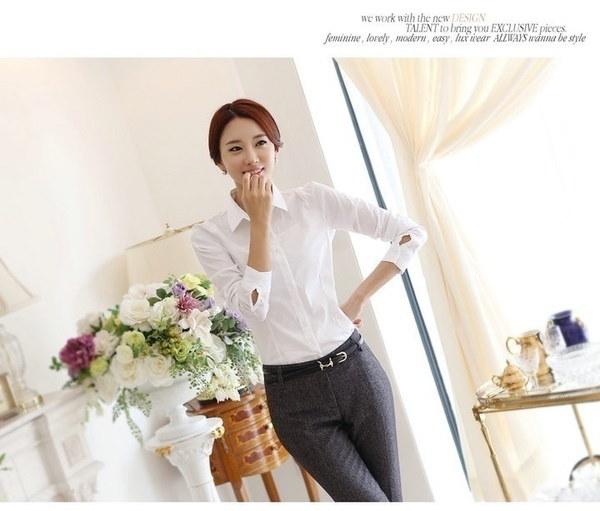 新しいファッション長袖の女性の白いシャツ(XS  -  5XL、白)