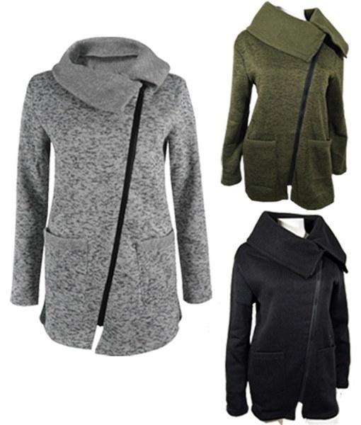 S-5XL Damen Oversize Warm Zip-up Hooded Sweatshirt Winter Outwear Coat