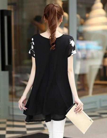 新しいファッション女性のブラウス半袖シフォンTシャツ刺繍の花のドレス