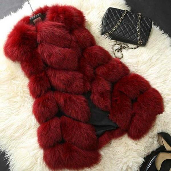 冬の新しい暖かいインポートコートファーのベストハイグレードフェイクファーコートフォックス女性のためのファーロングベストジャケットPlu