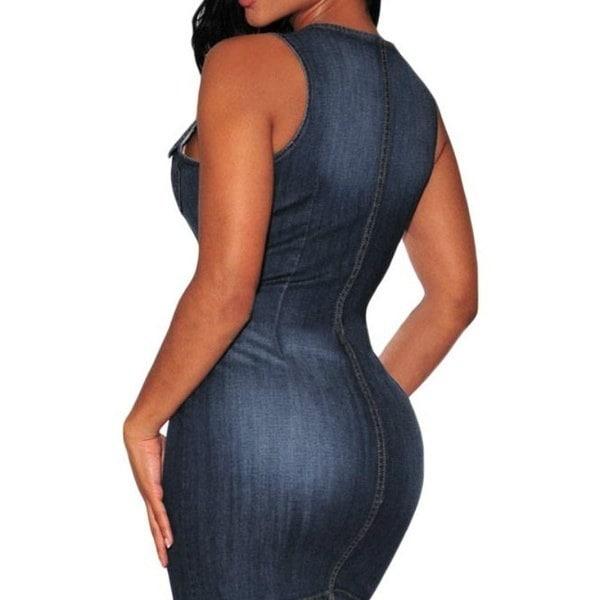 パーティーボタンダウンノースリーブデニムドレス女性のための夏のファッションセクシーなパッケージのヒップドレス