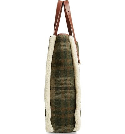 J.W.アンダーソン レディース トートバッグ バッグ JW Anderson Tartan Belt Tote with Genuine Shearling Trim