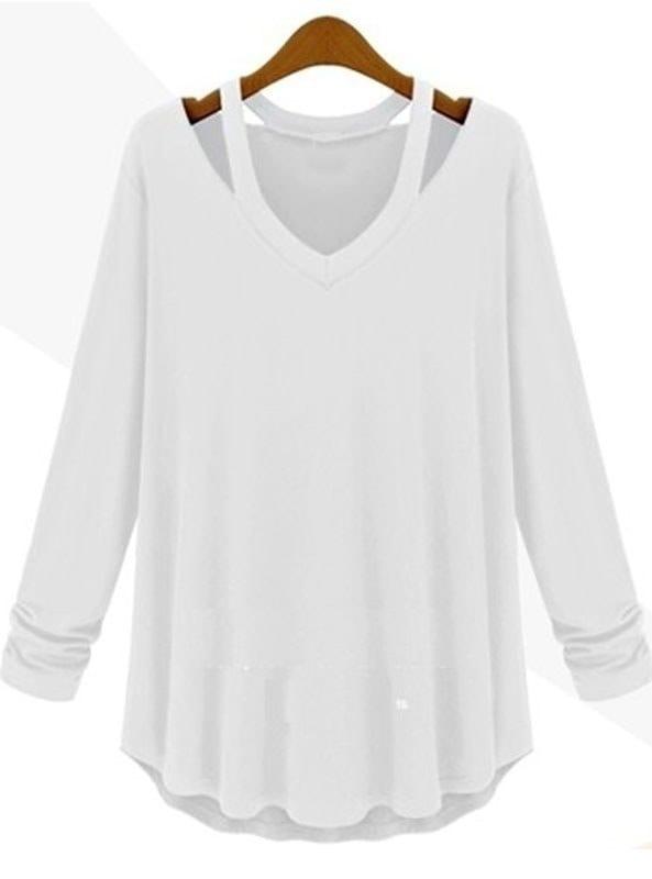 レディースカジュアルコットンTシャツ長袖ハンギングネックTシャツファッションプラスサイズトップス