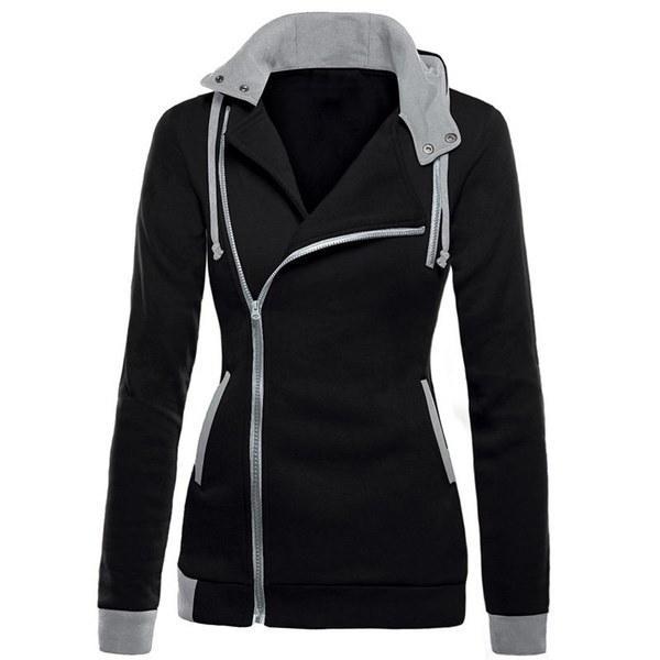 女性ファッション対角ジッパースリムフード付きジャケットウォームコート新