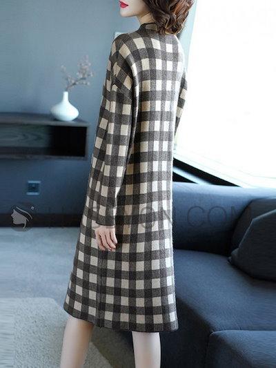 ゆったり 着やすい ハーフネック 長袖 チェック柄 シンプル 女性 ニットワンピース