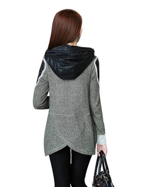 レディースアウターウェアウールブレンドニットフード付きカーディガンセーターコート(サイズ:XL、カラー:レッド)