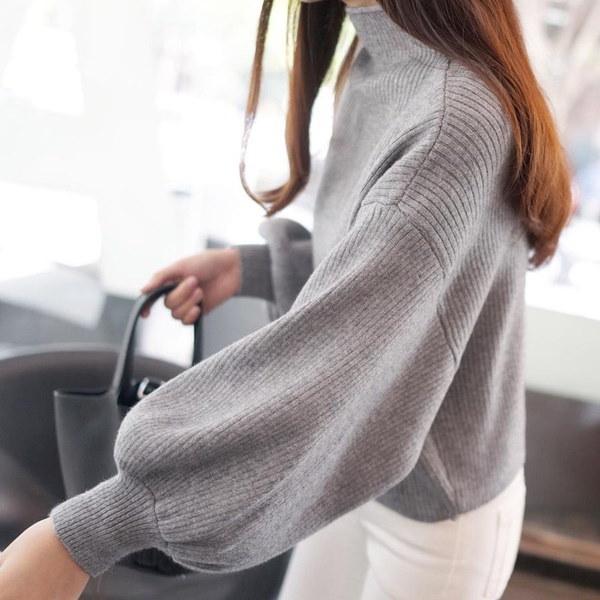 1PCの女性のファッションウィンザーオーバーサイズのカシミアセータータートルネックグレーソリッドセーターニットロングスリーブ