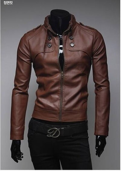 Mens Fashion Faux Leather jackets Designer Casual Slim fit outerwear Tops New Coats XS S M L 8911