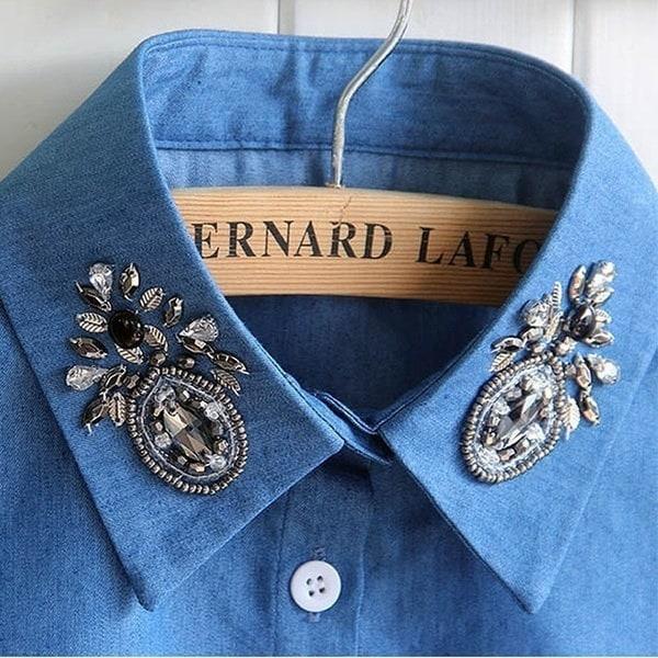 女性のブラウスフォールカラー服シャツ着脱可能なカラー韓国のダイヤモンドクリスタルパールカウボーイシャー