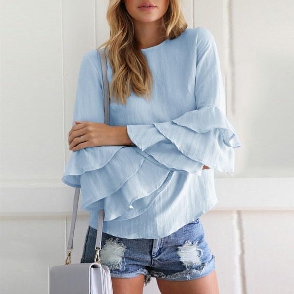 レディースファッションフリルスリーブブラウスシャツ2017春秋ロングスリーブエレガントレディースフラワーS