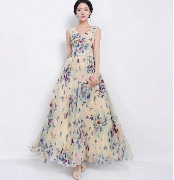 Women Fashion Clothing Sleeveless Butterfly Floral Print Chiffon Maxi Long Slim Beach Dress Party Ev