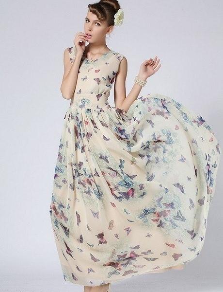 Women Fashion Clothing Sleeveless Butterfly Floral Print Chiffon Maxi Long Slim Beach Dress Party Ev