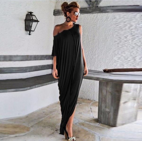カジュアルホロウバックレスルーズ女性のドレスセクシーなカラーパッチワーク不規則なマキシドレス