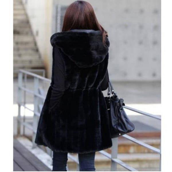 レディースフェイクラビット毛皮のフード付きのベストのジャケットスリムロングウエストコートのぬいぐるみラップコート