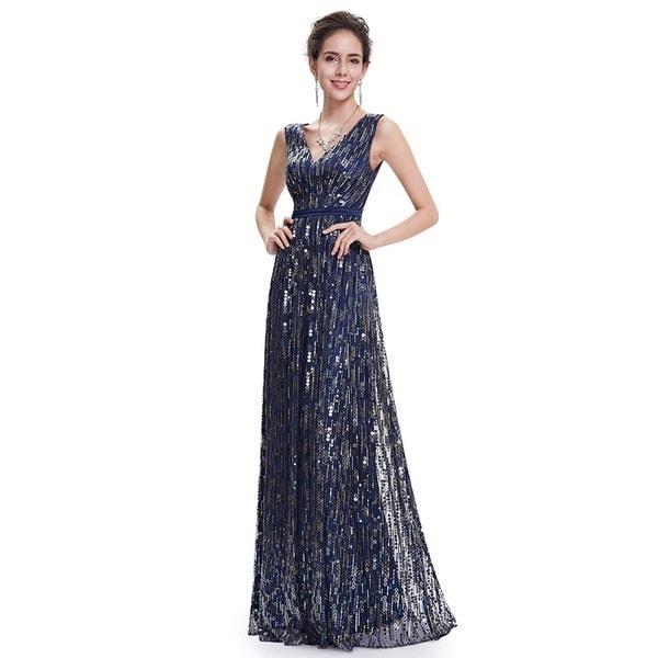 Ever Pretty Women s Fashion Sequins Elegant V-neck Long Prom Dress Party Dresses EP08669