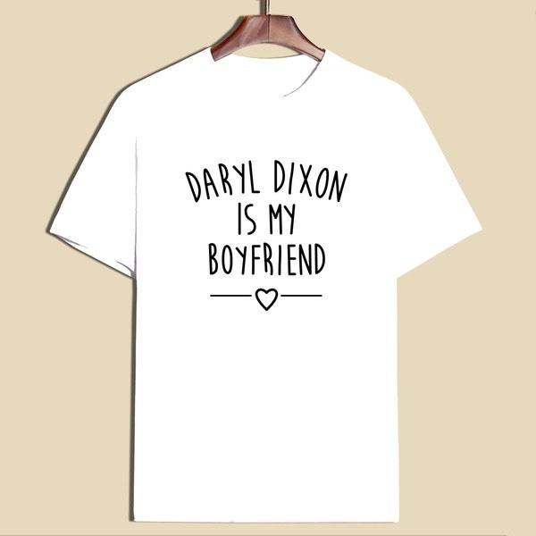 女性ファッション半袖白黒Tシャツレタープリントダリルディクソンは私のボーイフレンドです