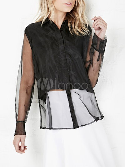 Black Long Sleeves Semi-Sheer Blouse