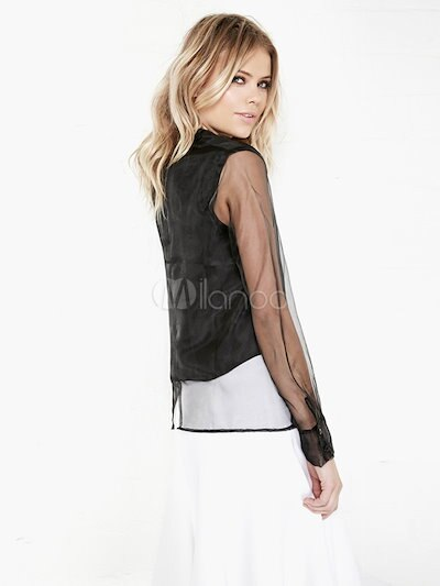 Black Long Sleeves Semi-Sheer Blouse