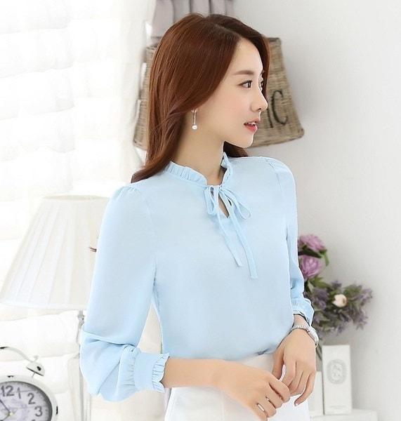 2017女性のシャツブラウス長袖スタンドカラーエレガントなレディースシフォンブラウストップファッションオフィス