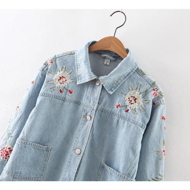 秋の女性の花の刺繍デニムジャケットラペルロングスリーブシングルブレストショートジャケットアウターSpijkerjasje Sdp8117