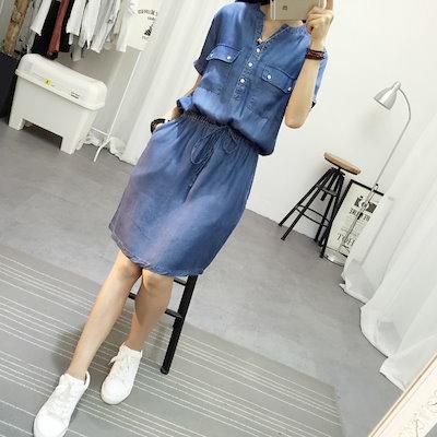 夏の新しい韓国スリムスリム弾性ウエストvロング半袖ドレスでテンセルデニム襟