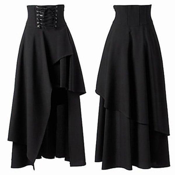 女性のSteampunkヴィンテージロックパーティー黒ロリータジプシーヒップクールスカート