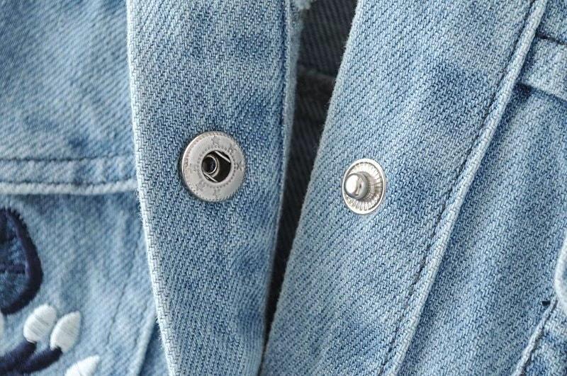 レディース花刺繡入りデニムジャケット 秋アウター 長袖コート ゆったり 着やせ 体型カバー