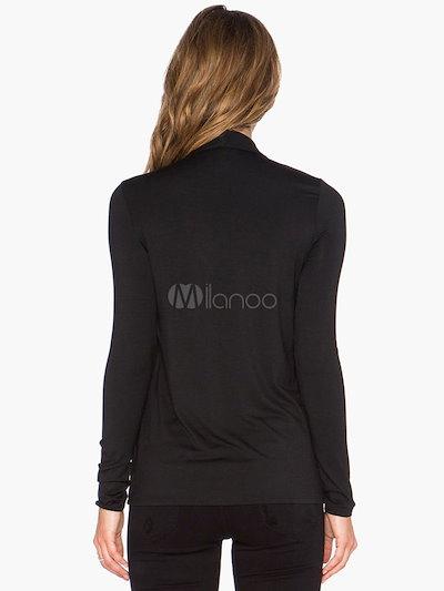 Black Tie-neck Cotton Blouse for Women
