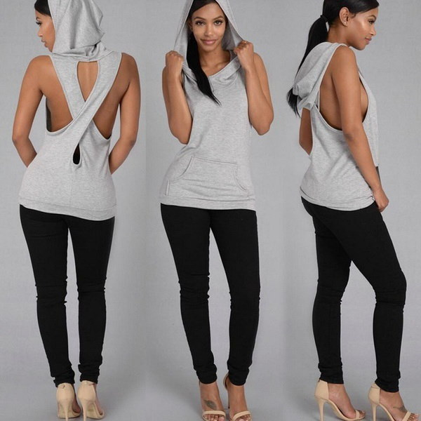 Women Tops Pocket Hooded Back Cross Sexy Sleeveless T-shirt Summer Blouse Bottoming T-shirt