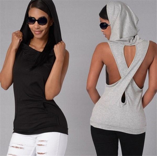 Women Tops Pocket Hooded Back Cross Sexy Sleeveless T-shirt Summer Blouse Bottoming T-shirt