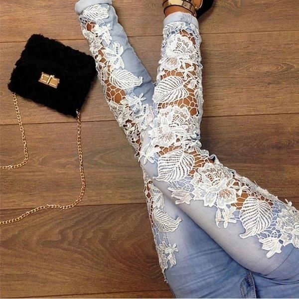 Women Skinny Lace Jeans Pants Floral Splice Crochet Stretch Denim Jeans Hollow Out Female Pencil Pan