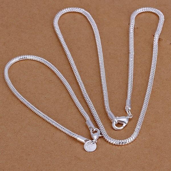 NEW 925純銀シルバー3ミリメートルスネークブレスレットネックレスセット