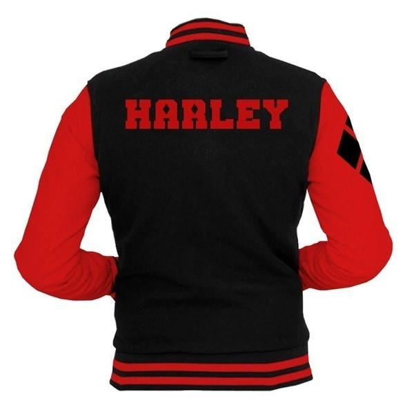 Womens Mens Unisex Black Harley Varsity JacketカレッジレターマンスクワッドコートBaseball Top