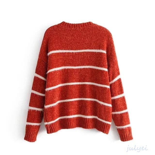全4COLOR ボーダーニット シェニール暖かいセーター 配色ニット ニットトップス ラウンドネック ニットウエア オレンジ、ブラック、グリーン、グレー