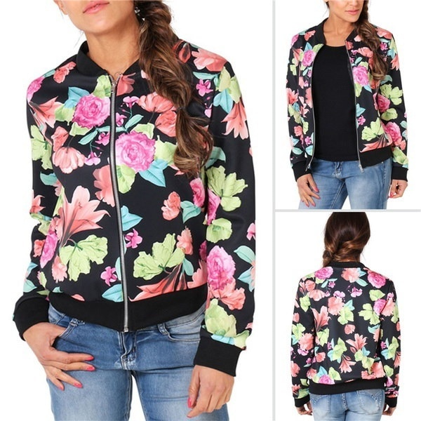 fashion floral print ladies bomber jacket windbreaker coat fall jacket for women plus size women jac