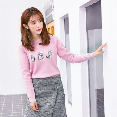 春 新品 韓国風 クルーネック ニット 刺繍 猫 長袖 ファッション レディーズ女性 スウィート