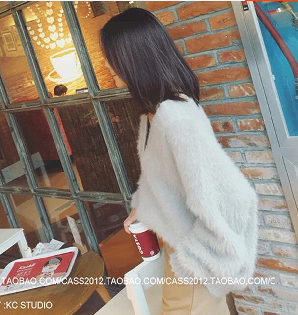 [55555SHOP]F/W 韓国ファッション/2017NEW/新商品/女子力高い/秋を感じさせる/Vネック/ニット/BIG Size/★体型カバーになる!!!★