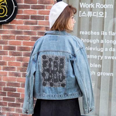 【 一番安い】春秋 韓国風 アウター デニム ショートコート 長袖 刺繍入り シンプル スレンダーライン レディーズ女性 カジュアル ファッション 合わせやすい ゆったり