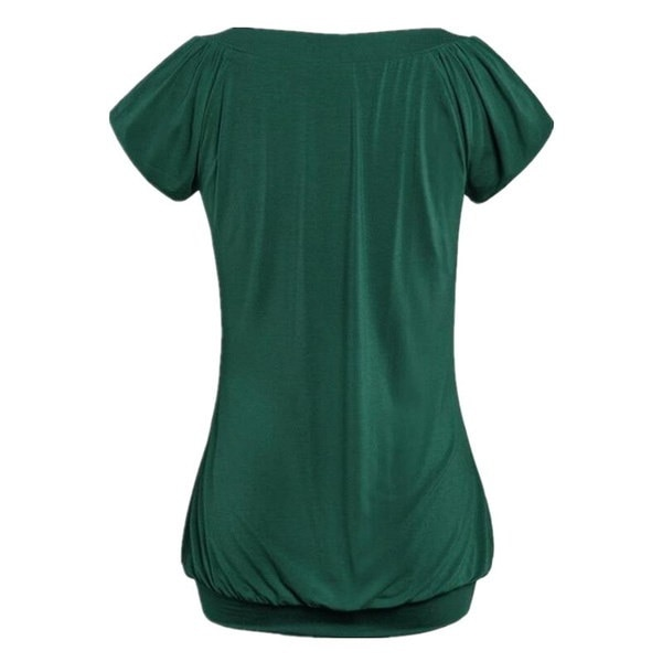 女性のファッション夏ソリッドカラーVネック半袖トップルーズTシャツブラウスプラスサイズXS-5XL
