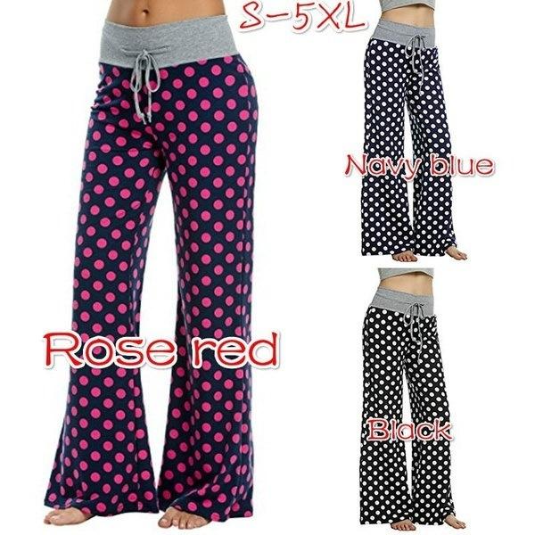Women s Fashion Plus Comfy Lounge Pants Polka Dots Stretch Mix & Match Wide Leg Pants S-5XL
