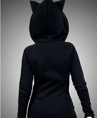 フーディー女性ファッション猫目プリントHoodies女性の長袖フード付きスエットカジュアルプルオーバー